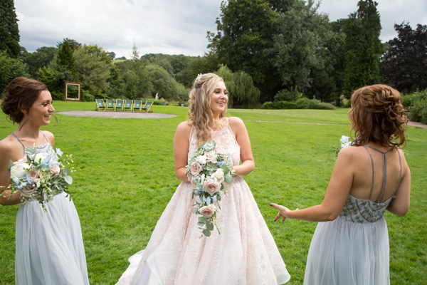 Bride and Bridesmaids at Bagden Hall hotel Wedding