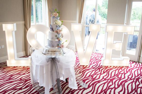 The wedding cake at Bagden Hall Hotel Wedding