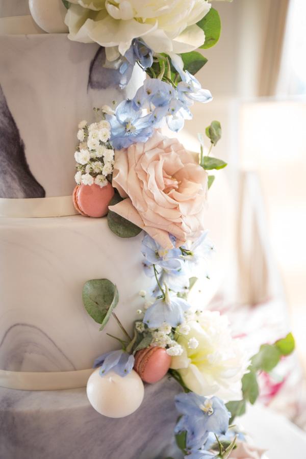 The wedding cake detail at Bagden Hall Hotel Wedding