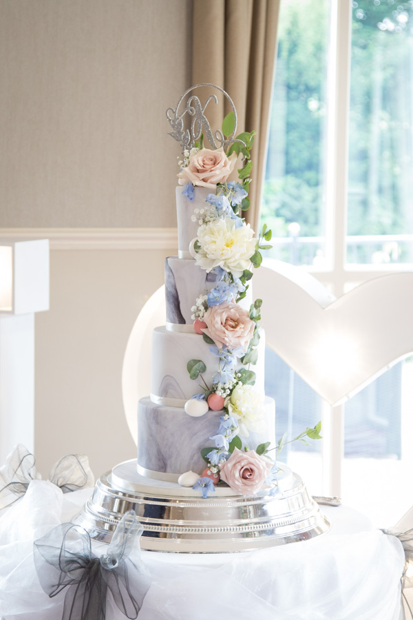 The wedding cake at Bagden Hall Hotel Wedding