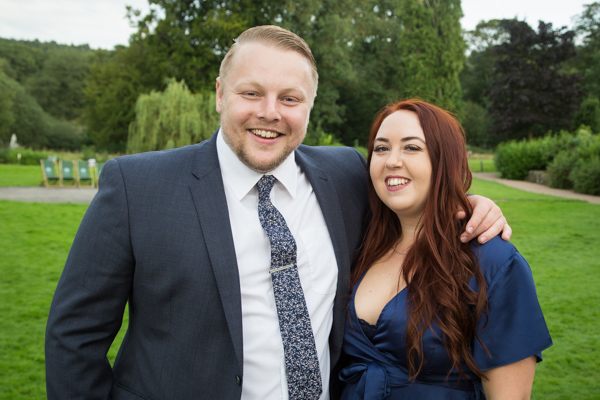 Couple standing together at Bagden Hall Hotel Wedding