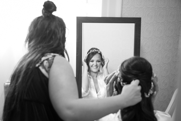 BRide having her hair piece fixed at Wortley Hall Wedding