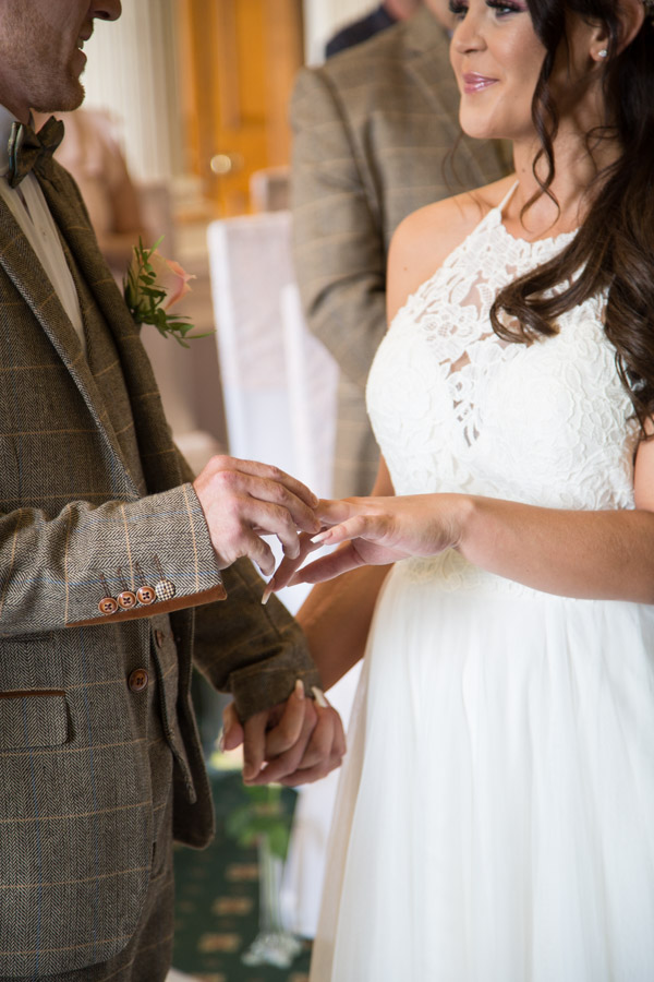 The exchange of the rings at Wortley Hall Wedding