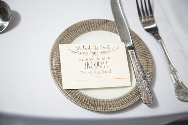 Lotto ticket wedding favours at Wortley Hall Wedding
