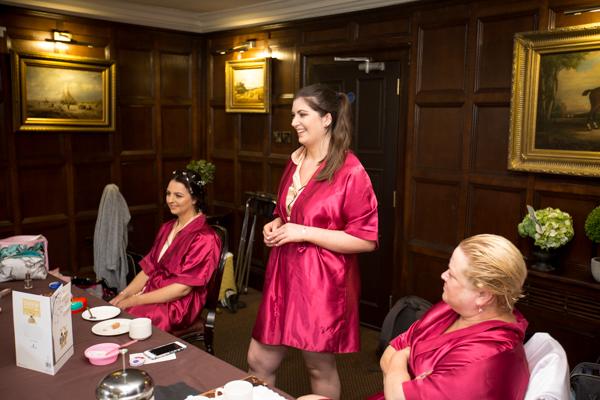 Bridesmaid laughing at Whitley Hall Hotel Wedding