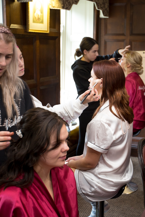 Bridal party getting ready at Whitley Hall Hotel Wedding