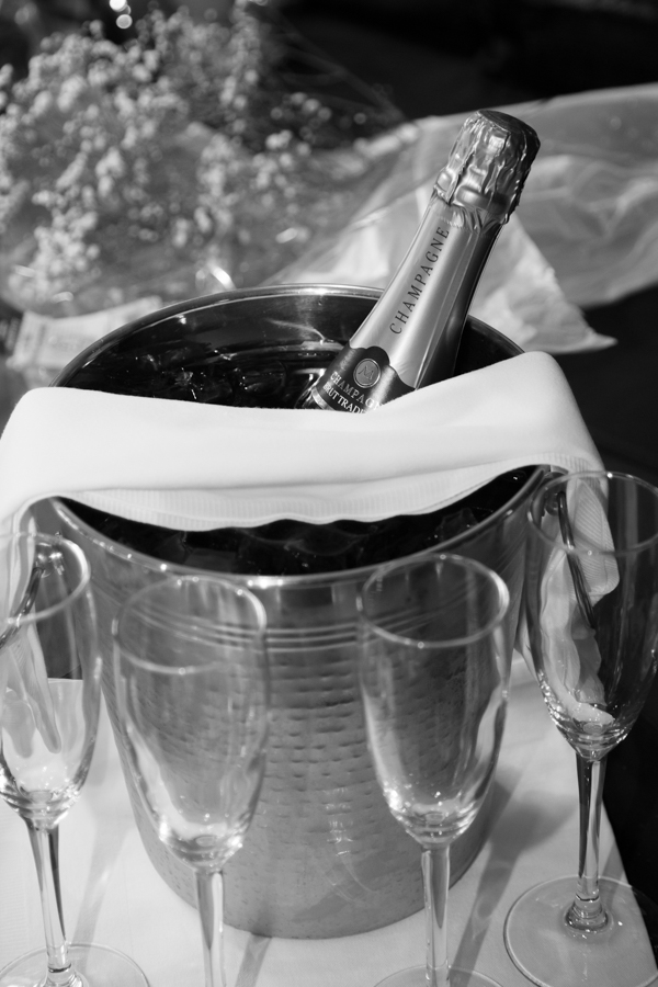 Champagne wiating to be poured at Whitley Hall Hotel Wedding