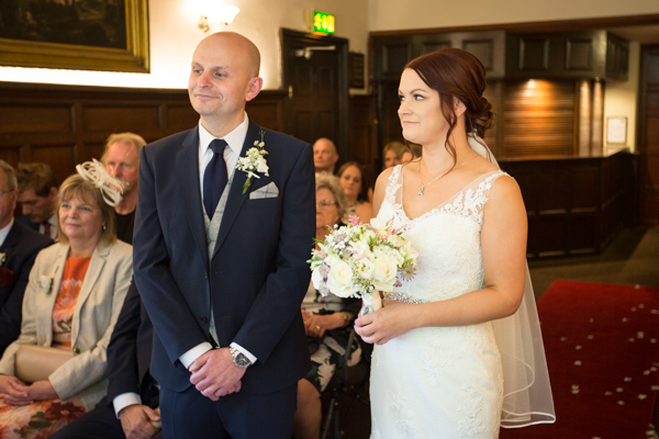 bride and groom at the altar at Whitley Hall Hotel Wedding