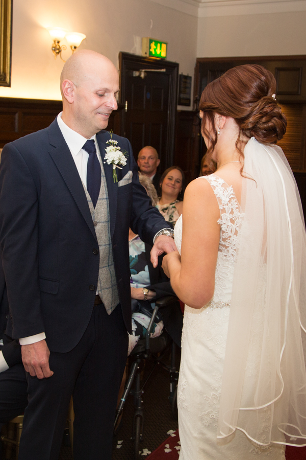 THe exchange of the rings at Whitley Hall Hotel Wedding