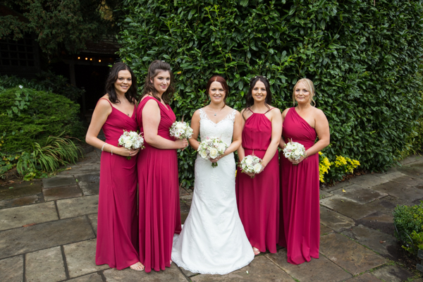 Bride with bridesmaids at Whitley Hall wedding