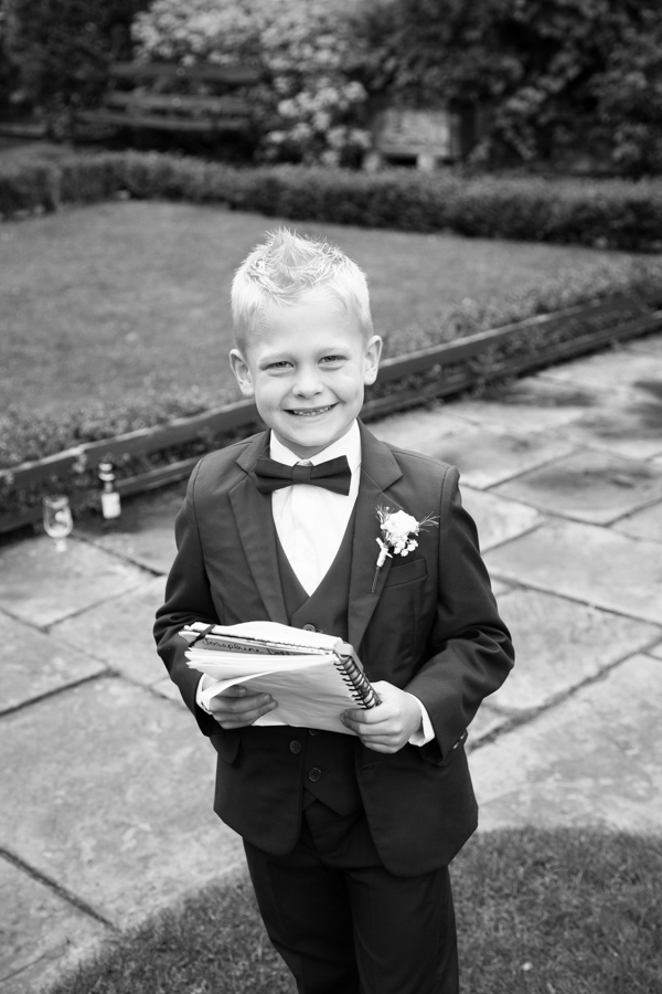 Page boy at Whitley Hall wedding