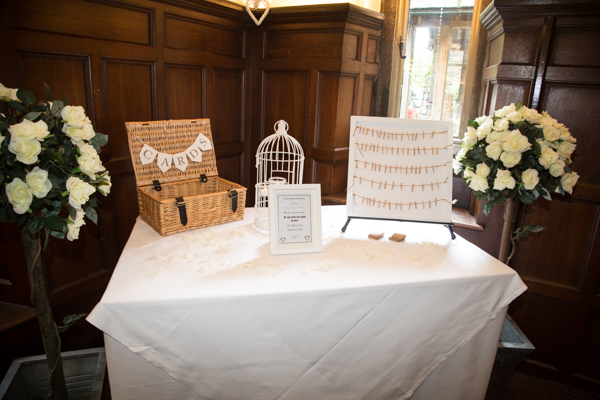 Cards and guest book table at Whitley Hall Wedding