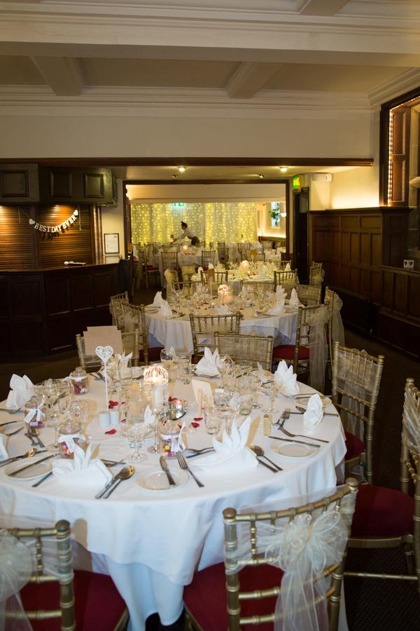 The wedding breakfast room at Whitley Hall Wedding