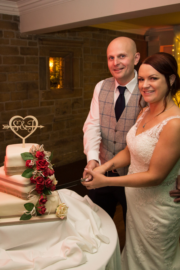 The cake cutting at Whitley Hall Wedding