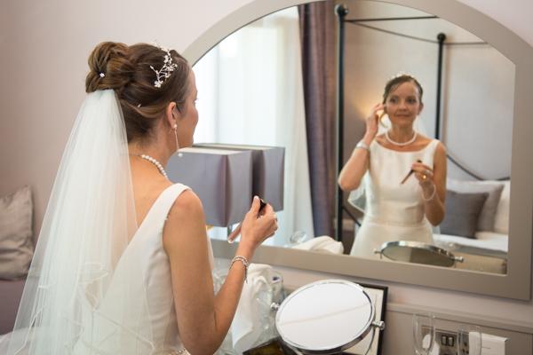Bride fixing her hair 315 Wedding Huddersfield