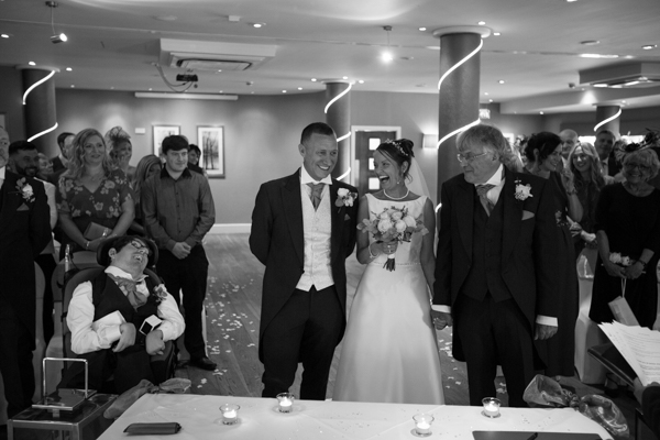 Bride and groom laughing with the father of the bride 315 Wedding Huddersfield