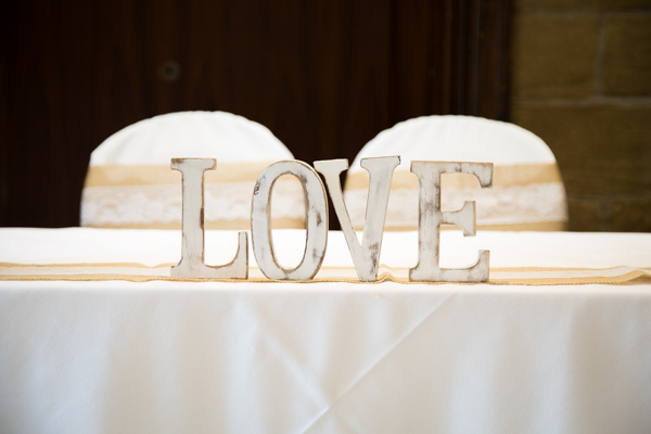 Love sign on top table at Whitley Hall Hotel Wedding