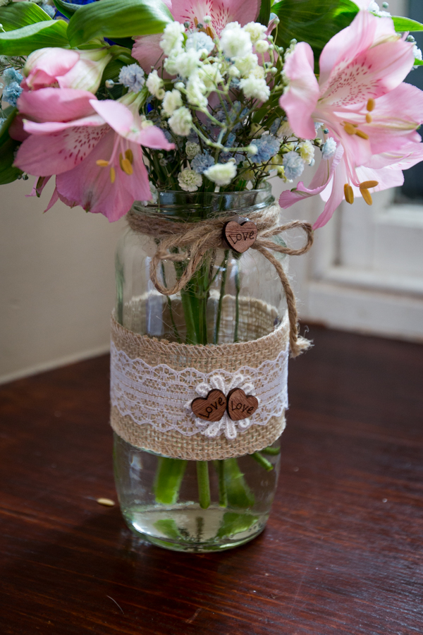 Handmade wedding flower jars at Whitley Hall Hotel Wedding