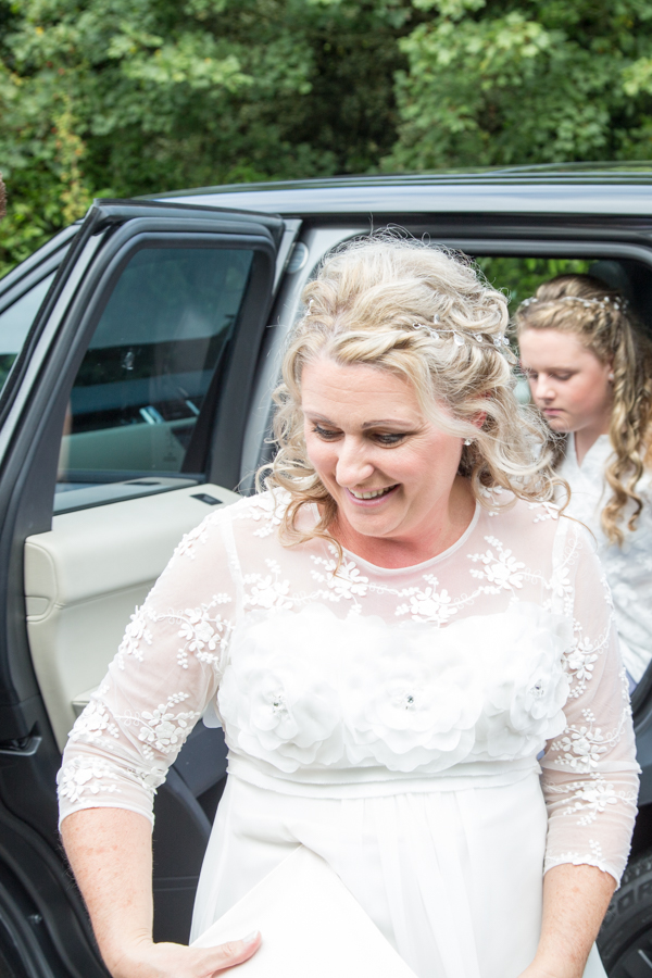 Bride arriving at Whitley Hall Hotel Wedding