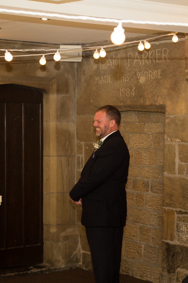 Groom waiting for brides arrival at Whitley Hall Wedding