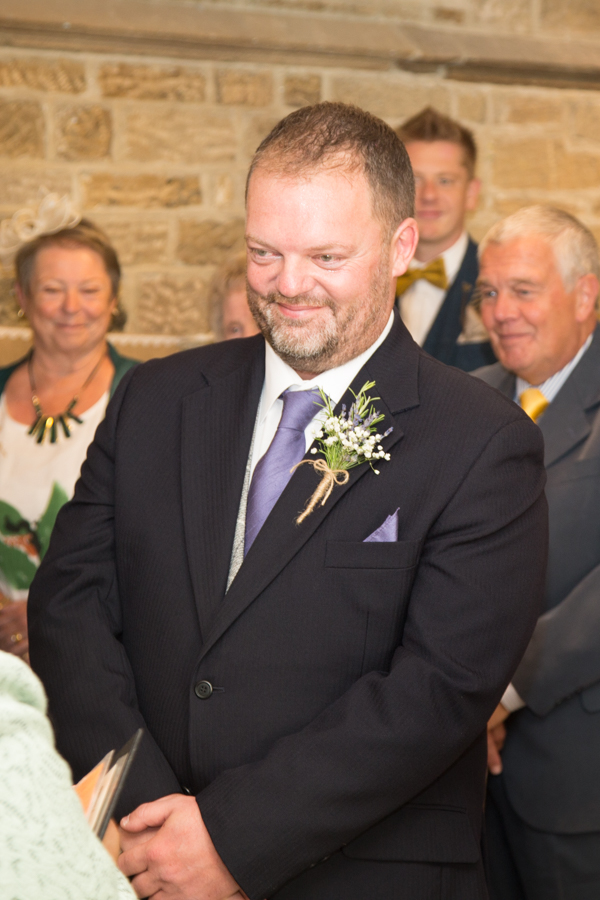 Groom during wedding ceremony at Whitley Hall Wedding