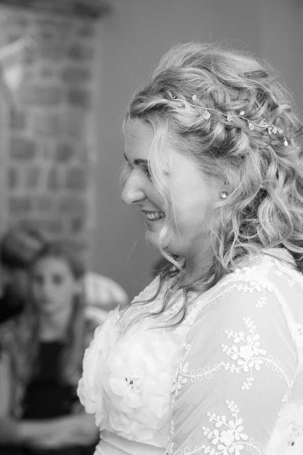 Bride during wedding ceremony at Whitley Hall Wedding
