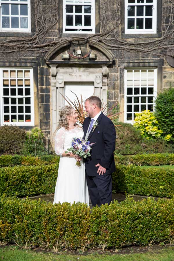 Bride and Groom in the grounds at Whitley Hall Hotel Wedding