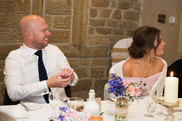 Guests enjoying wedding breakfast at Whitley Hall Hotel