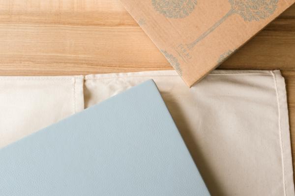 blue leather folio wedding album
