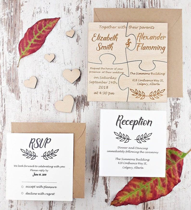 Alternative wedding invitation jigsaw