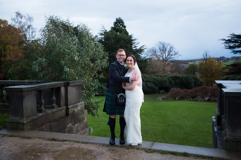 Bride and Groom at Yorkshire Sculpture Park on their wedding day