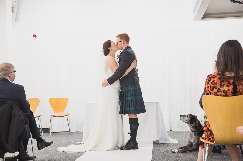 First Kiss at YSP wedding ceremony