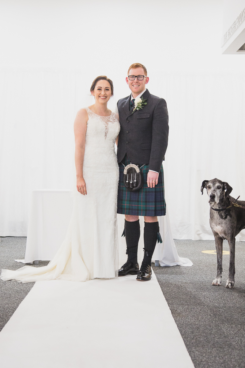 COuple with their dog at Yorkshire Sculpture Park Wedding