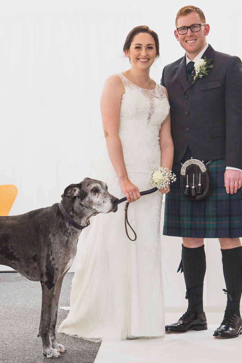 Couple at the altar with their dog at Yorkshire Sculpture Park Wedding