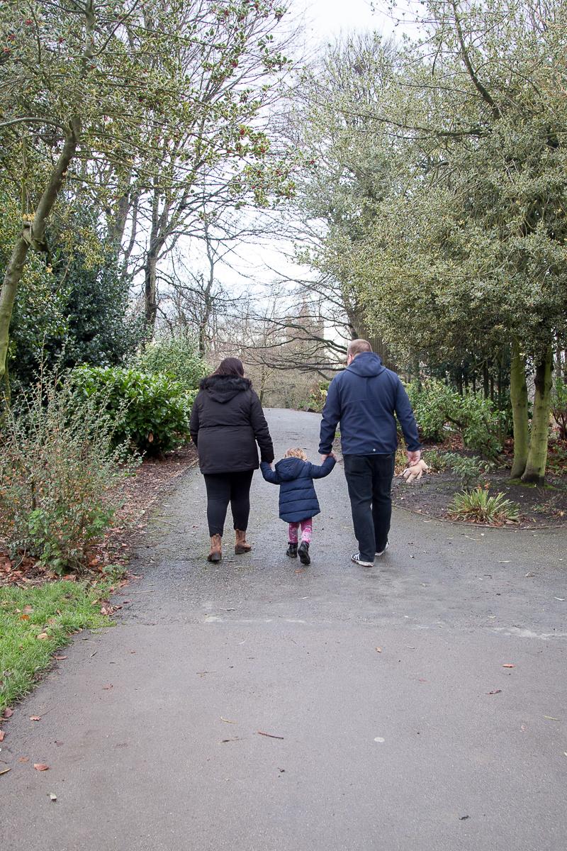 Family Walking throuhg Locke Park Barnsley