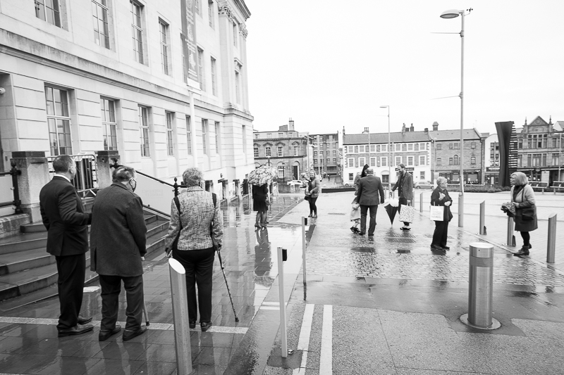 Guests arriving at Barnsley Town Hall December wedding