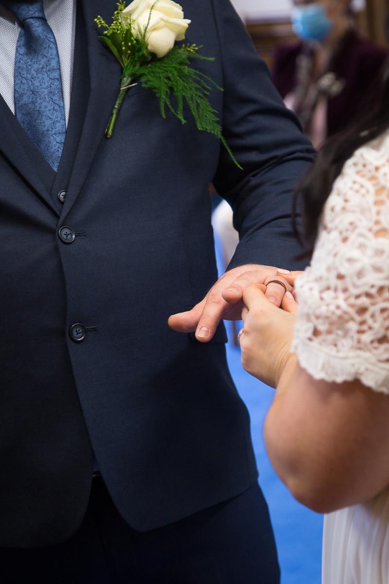 Exchange of rings at Barnsley Town Hall Wedding