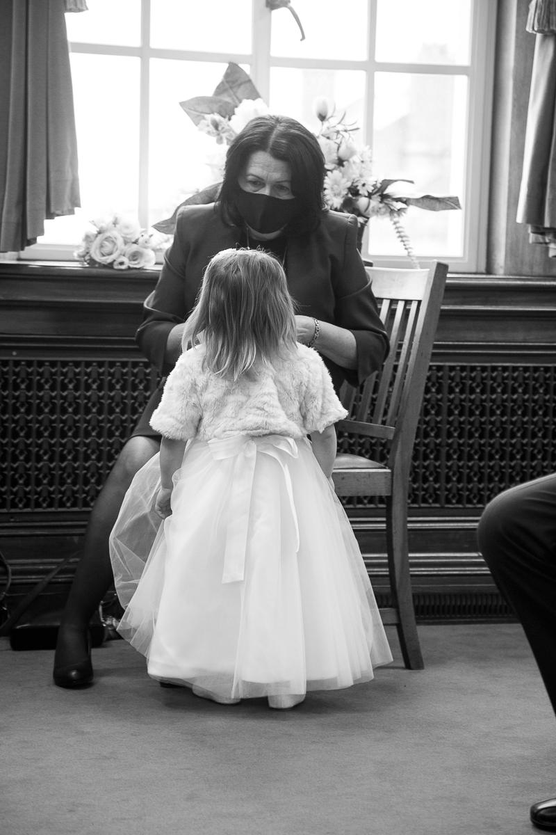 Flower girl at Barnsley Town Hall Wedding