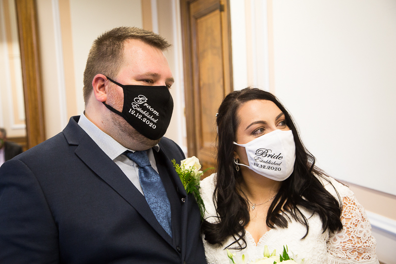 Couple in matching masks at Barnsley Town Hall Wedding