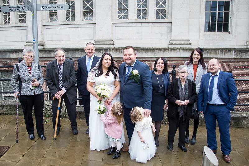 Group photograph at Barnsley Town Hall Wedding