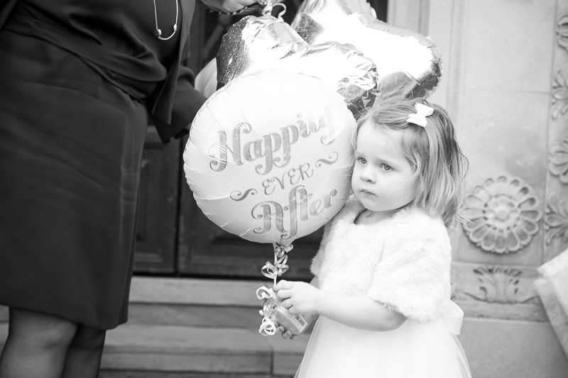Flower Girl with Happily ever after balloons at Barnsley Town Hall