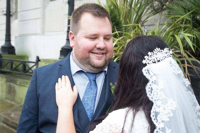 Happy couple at Barnsley Town Hall Wedding Photographer