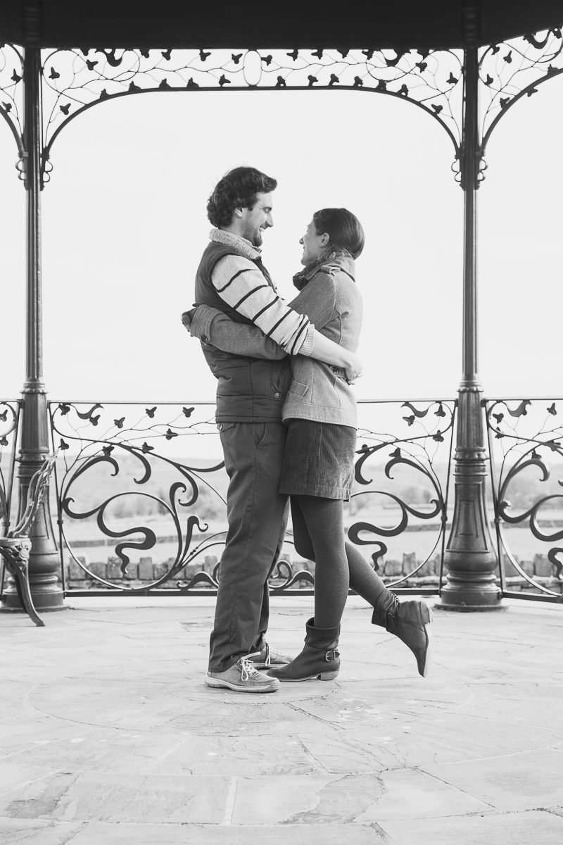 Engaged couple in the bandstand at Cubley Hall Hotel