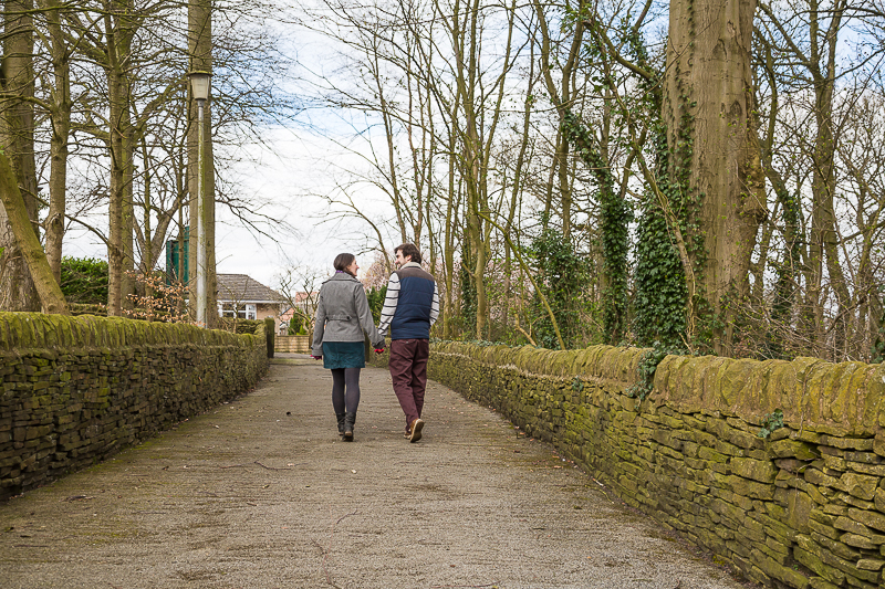 Couple walking down the path at Cubley Hall Hotel