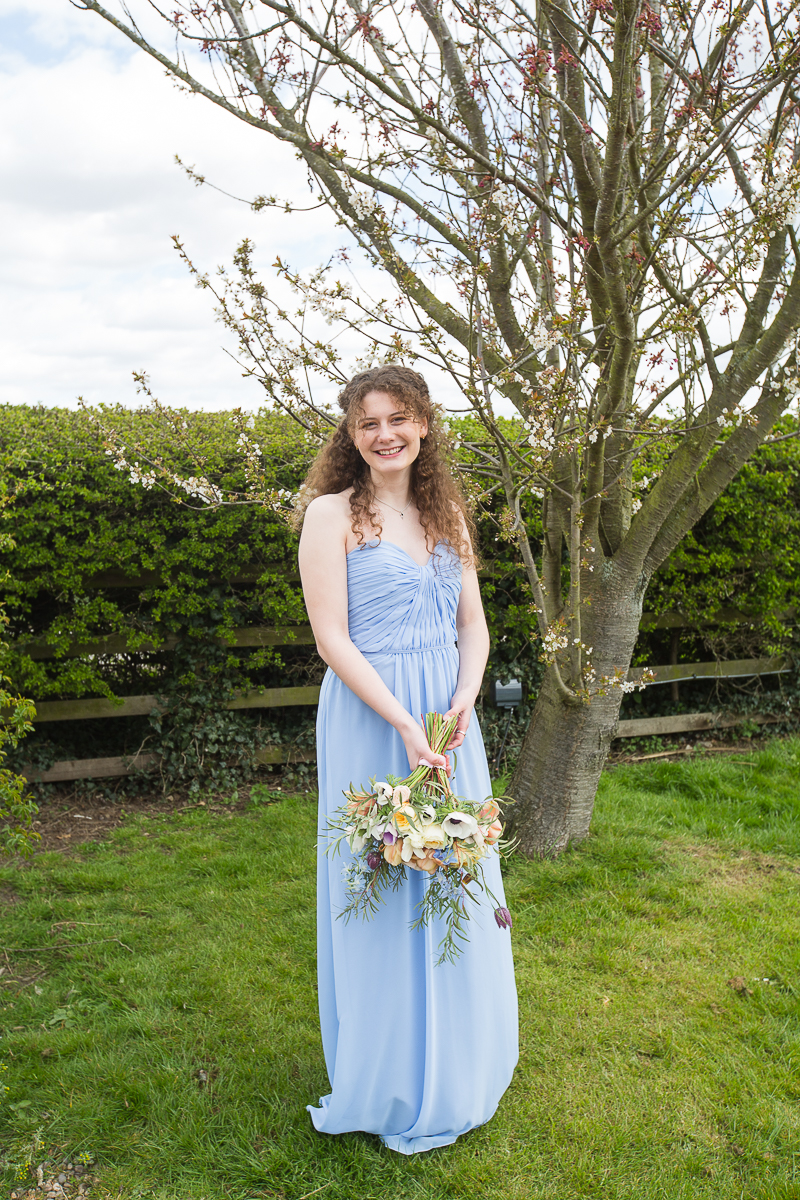 Blue Bridesmaid dress at a styled session in Doncaster