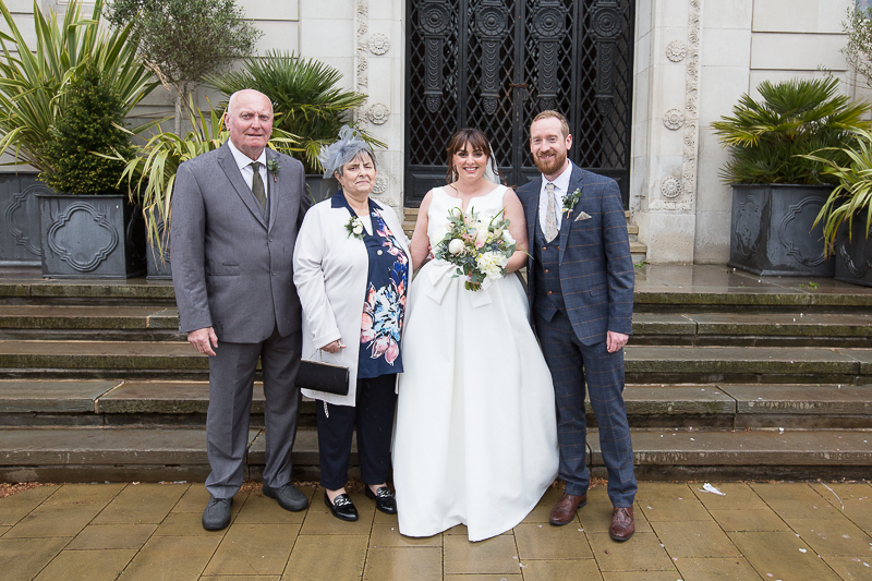 Wedding Group Shots at the front of Barnsley Town Hall