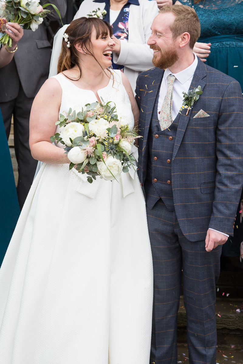Confetti thrown over the couple at Barnsley Town Hall Wedding