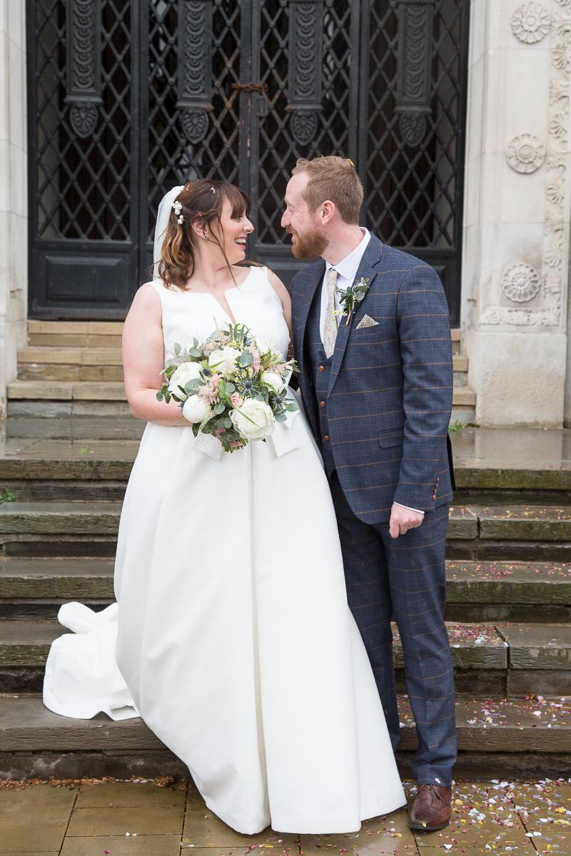 Bride and Groom on the town Hall steps at Barnsley Town Hall Wedding