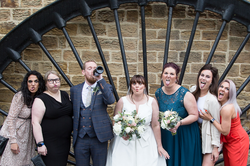 Silly group shot at Elsecar Heritage Centre on a covid wedding day