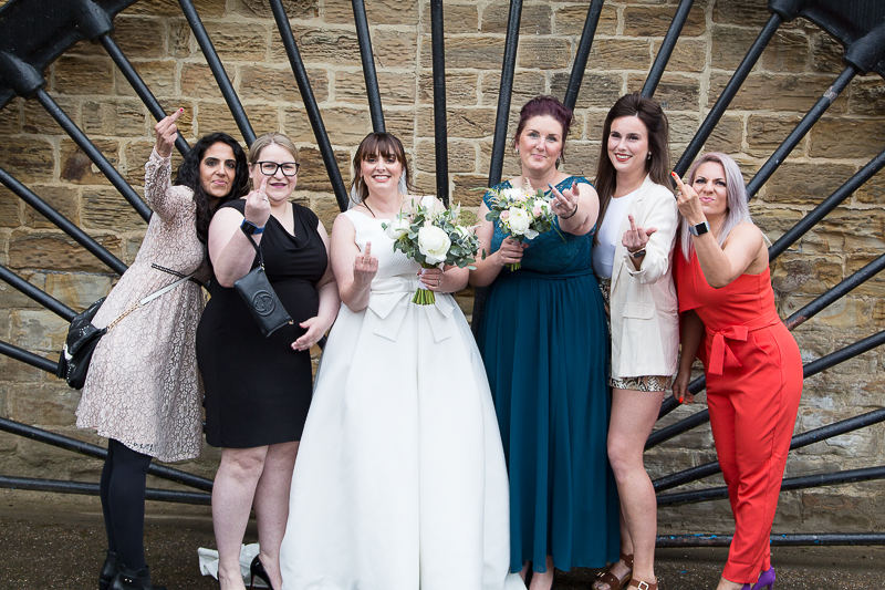 Silly group shots at Elsecar Heritage Centre on a covid wedding day